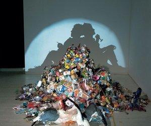 art, shadow, and trash image