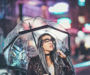 girl, lights, and umbrella image