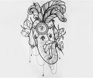 elephant, tattoo, and drawing image