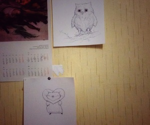 drawing, hamster, and owl image