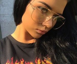 choker, glasses, and baddie image