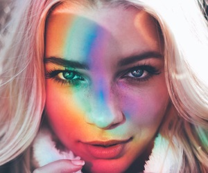 girl, rainbow, and blonde image