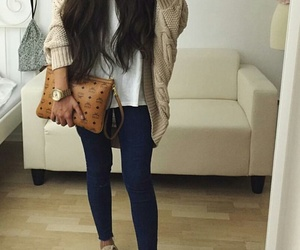 brunette, jeans, and long hair image