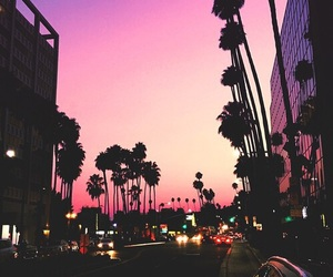 city, sunset, and pink image