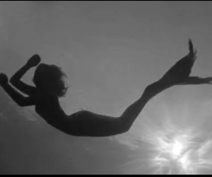 mermaid, black and white, and water image