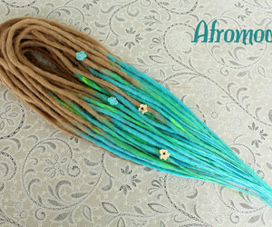 dreadlocks, dreads, and turquoise dreads image