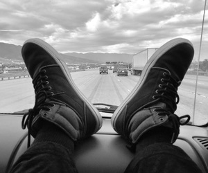 shoes, black and white, and Road Trip image