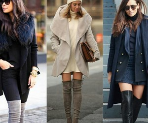woolen coats and knee length boots image