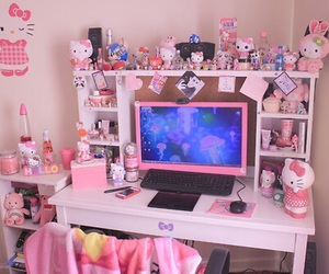 pink, hello kitty, and kawaii image