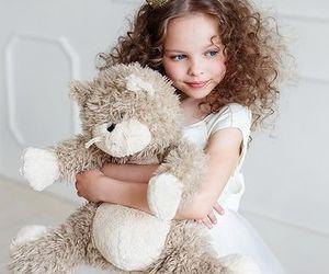 adorable, girl, and bear image