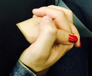 holding hands, red nails, and pure love image