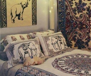 bedroom, boho, and elephant image
