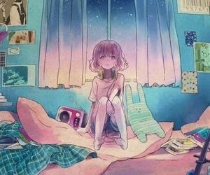 girl, anime, and bedroom image
