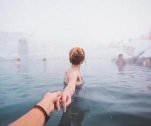 girl, lake, and snow image