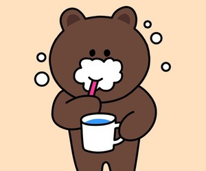 bear, brown, and line image