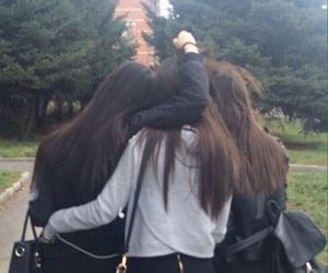 best friends, schoolgirls, and black hair image