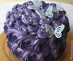 butterflies, cake, and delicious image