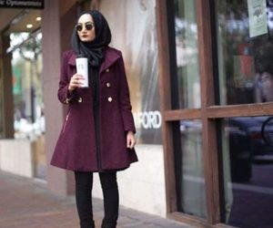 hijab, fall outfit, and maroon sweater image