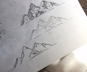 dessin, draw, and montagne image
