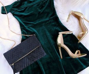 dress, shoes, and green image