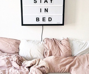 bed, pink, and bedroom image
