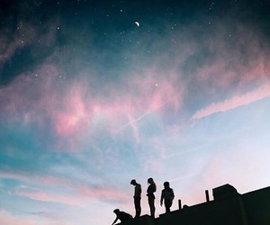 sky, friends, and pink image