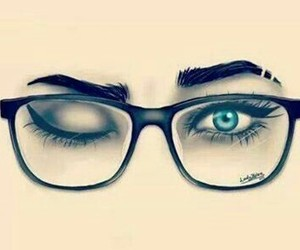 eyes, drawing, and glasses image