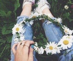 flowers, jeans, and converse image
