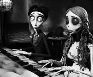 tim burton, corpse bride, and piano image