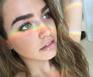 rainbow, girl, and beauty image