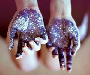 hands, glitter, and purple image