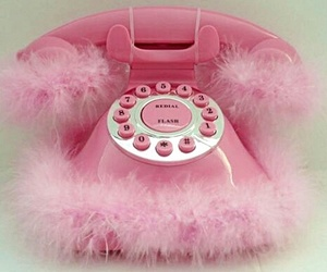 pink, phone, and fur image