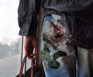 chemise, flower, and jeans image