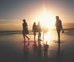 friends, beach, and sun image