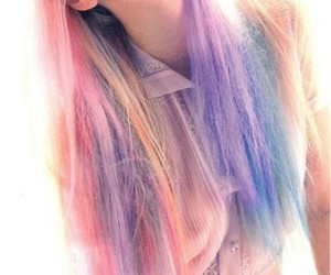 hair, pink, and rainbow image