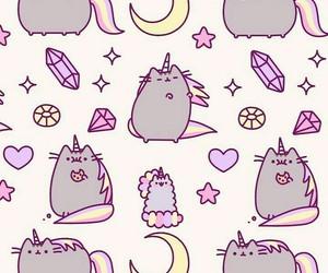 wallpaper, cat, and unicorn image