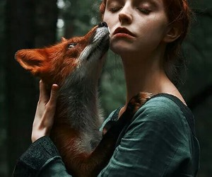 fox, girl, and red image