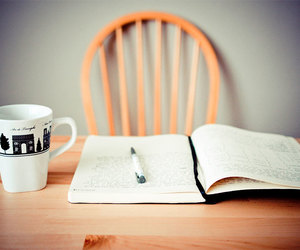 book, coffee, and pen image
