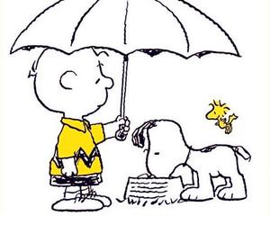 charlie brown, umbrella, and woodstock image