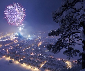 light, fireworks, and winter image