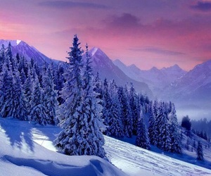 mountain, snow, and trees image