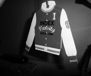 varsity jacket, black and white, and photography image