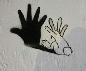ombre, hand, and rabbit image