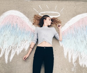 angel, chalk, and drawing image