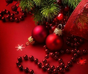 christmas, ornaments, and red image