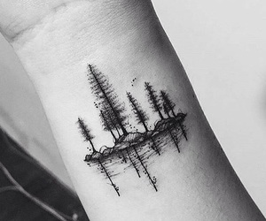 tattoo, trees, and little forest image