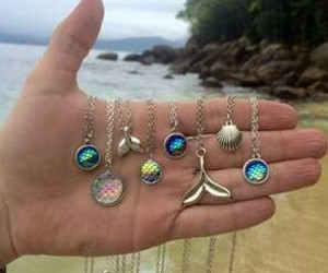 mermaid, beach, and necklace image