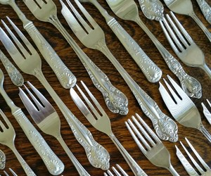 silver, cake, and silver fork image