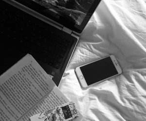 blackandwhite, book, and computer image