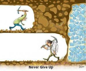 never give up, never, and diamond image